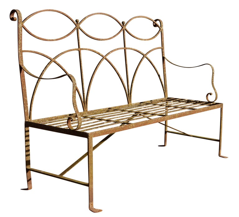 Neoclassical Wrought Iron Garden Bench Four-Seat In Good Condition For Sale In Rochester, NY
