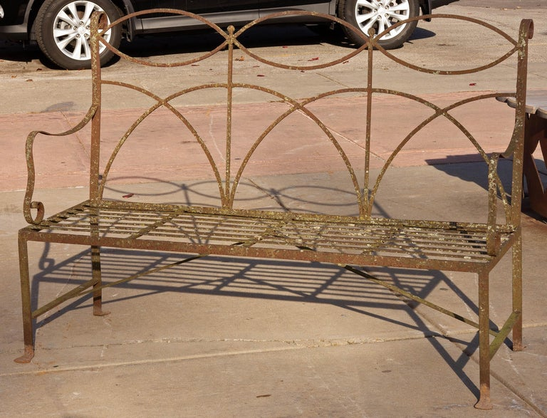 20th Century Neoclassical Wrought Iron Garden Bench Four-Seat For Sale