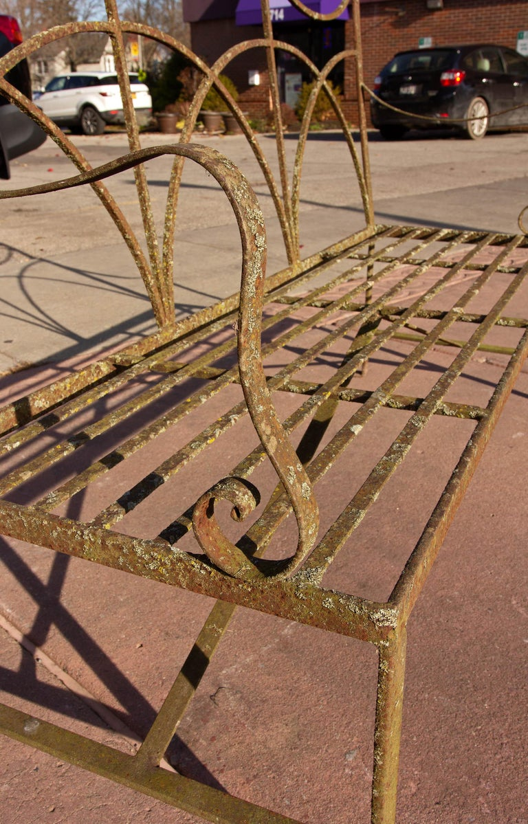 Neoclassical Wrought Iron Garden Bench Four-Seat For Sale 3