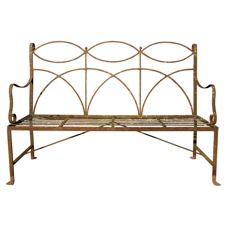 Neoclassical Wrought Iron Garden Bench Four-Seat For Sale