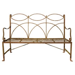 Neoclassical Wrought Iron Garden Bench Four-Seat