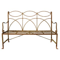 Neoclassical Wrought Iron Garden Bench Four-Seat