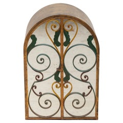 Neoclassical Wrought Iron Wall Hanging Bar Cabinet, France, 1940s