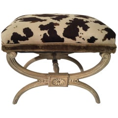 Neoclassical X Bench with Faux Animal Print Upholstery