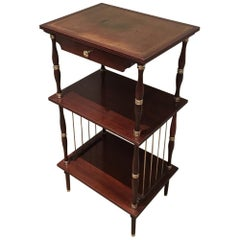 Neoclassicaml Mahogany, Leather and Brass Side Table, circa 1950