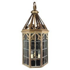 Neogothic Brass Hall Lantern, Late 19th Century Gothic Style, with Lead Lattice
