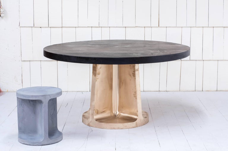 Neolith Table in Cast Bronze and Charred Maple In New Condition For Sale In Vancouver, BC
