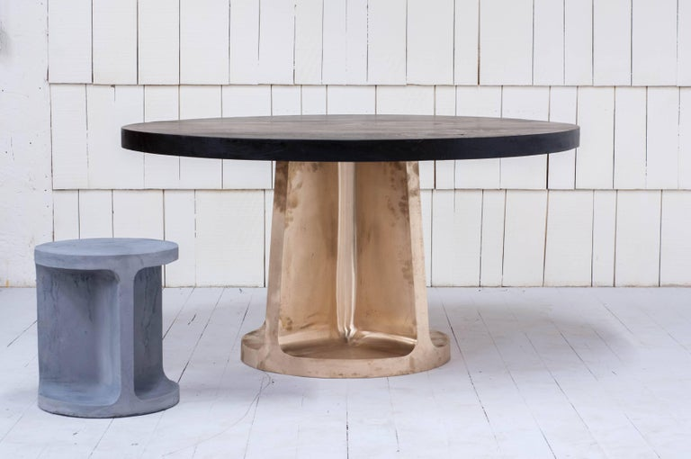 Contemporary Neolith Table in Cast Bronze and Charred Maple For Sale