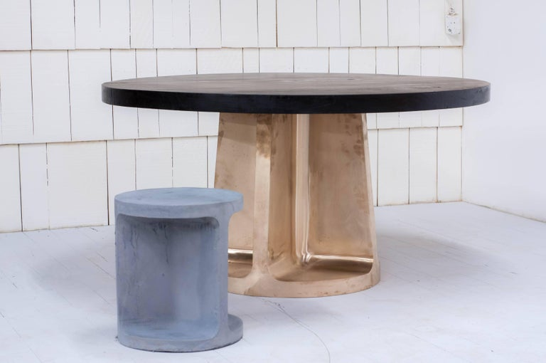 Neolith Table in Cast Bronze and Charred Maple For Sale 1