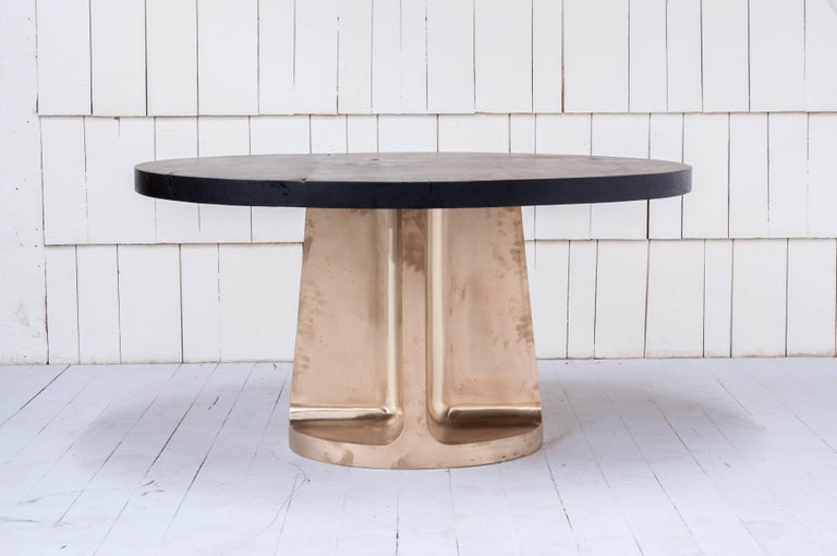 Neolith Table in Cast Bronze and Charred Maple For Sale 3
