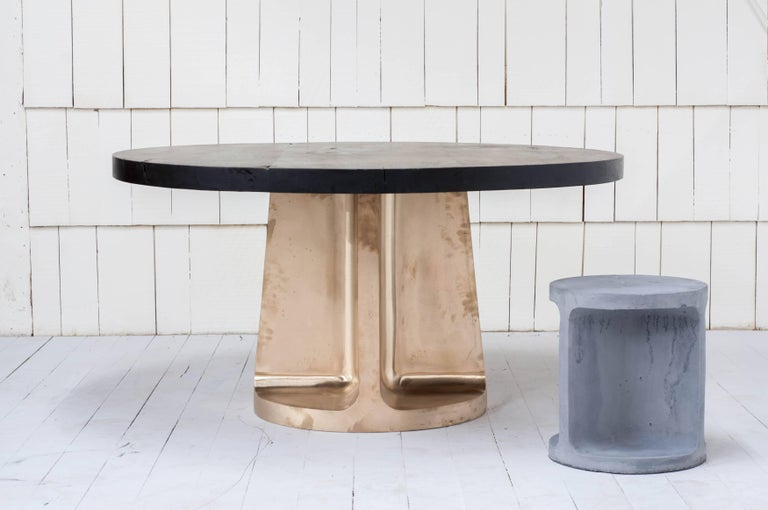 Neolith Table in Cast Bronze and Charred Maple For Sale 4