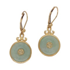 Neolithic Design Chinese Jade Pi 'Disk' Earrings, 14 Karat Yellow Gold Hong Kong
