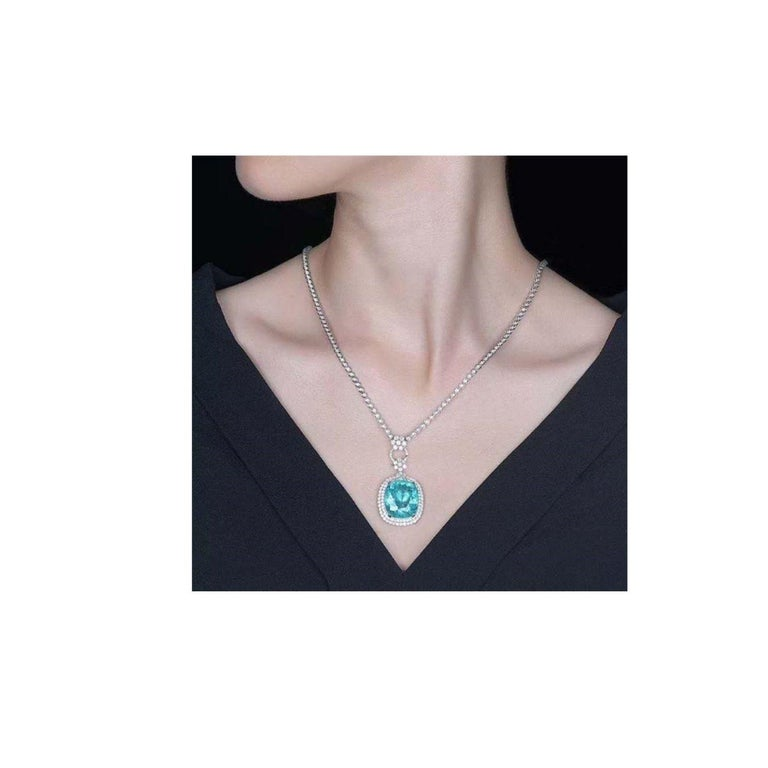 Neon Blue Paraiba Tourmaline Diamond Necklace 18k White Gold In New Condition For Sale In Barnsley, GB