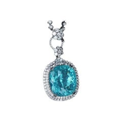 Neon Blue Paraiba Tourmaline Diamond Necklace 18k White Gold
