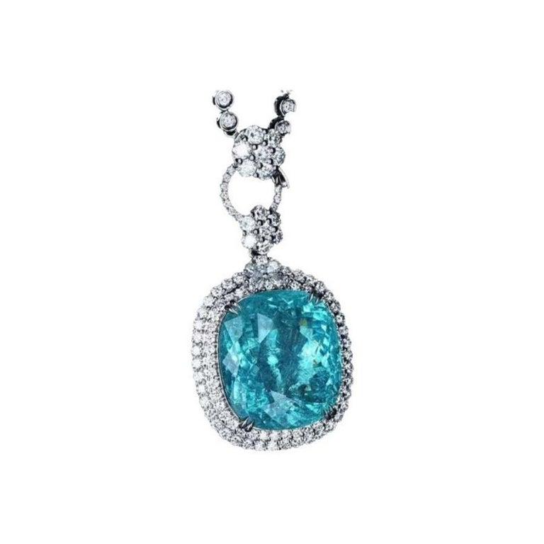Neon Blue Paraiba Tourmaline Diamond Necklace 18k White Gold For Sale