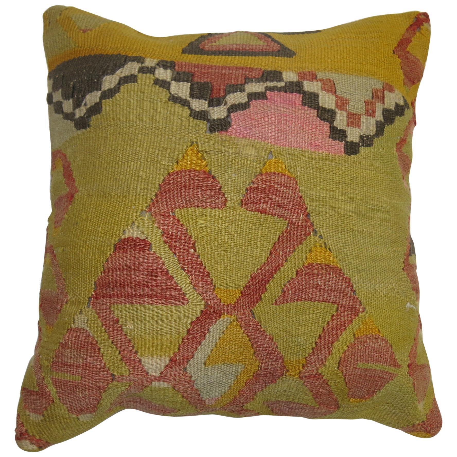 Neon Green and Pink Turkish Kilim Pillow