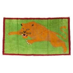 Neon Green Roaring Tiger Pictorial Turkish 20th Century Wool Rug