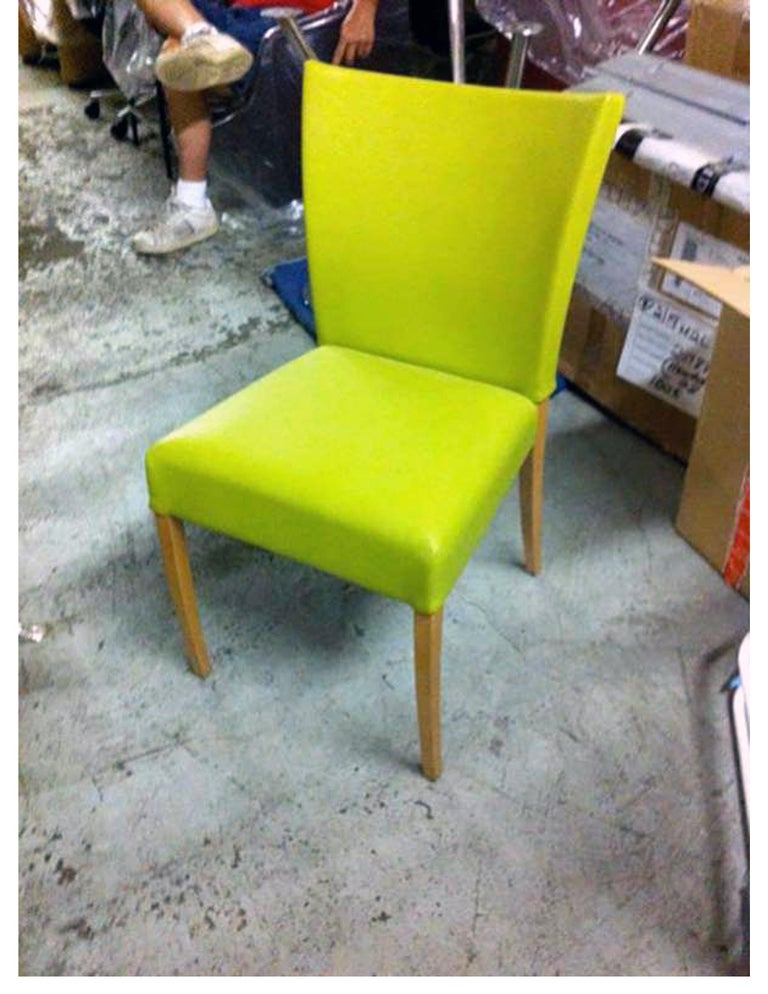 Dutch Montis Neon Green Set of Two Dione Side Chairs For Sale