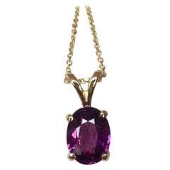 Neon Purple 1.43ct Malawi Rhodolite Garnet Oval Cut Solitaire Pendant Necklace