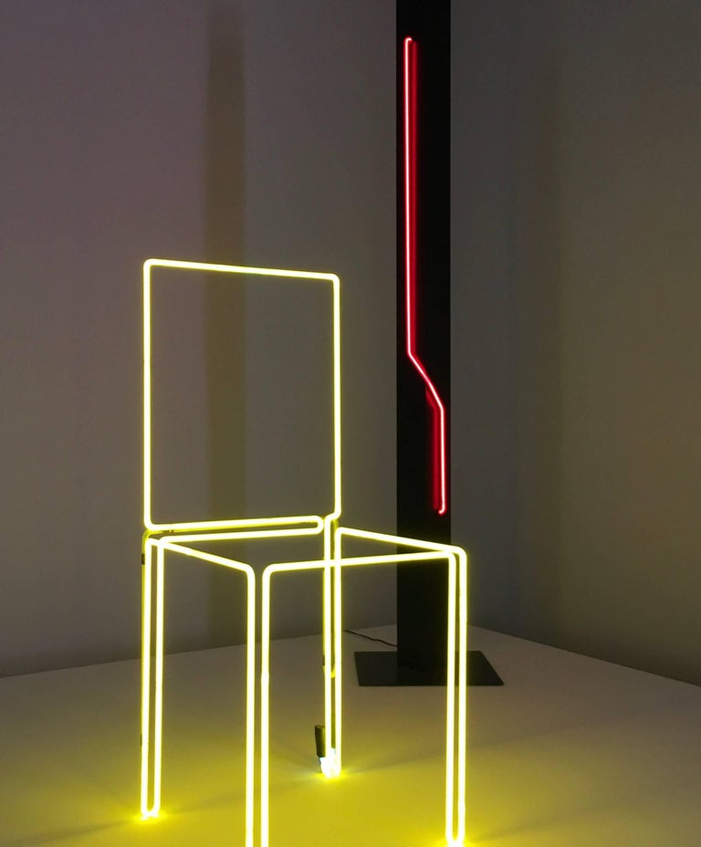 Mid-Century Modern Neon Sculpture Torchiere Floor Lamp by Rudi Stern, Offered by La Porte For Sale