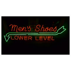Neon Sign from Department Store, Men's Shoes, Lower Level, circa 1930s