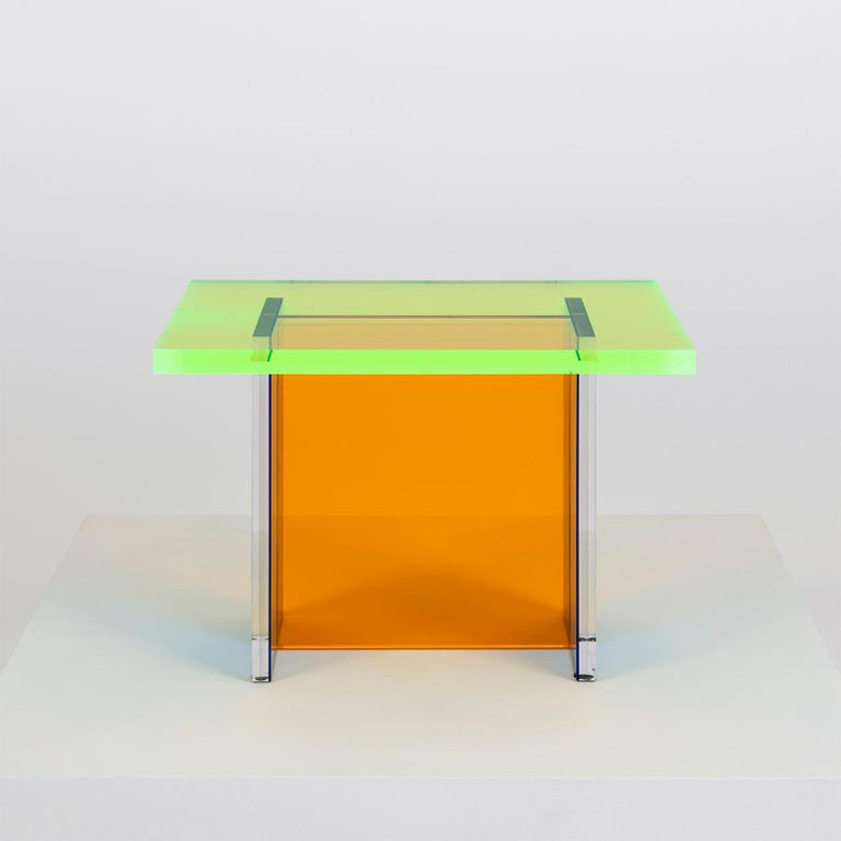 Modern Neon Table in Blue, Green and Orange Stacked Acrylic by Umzikim For Sale