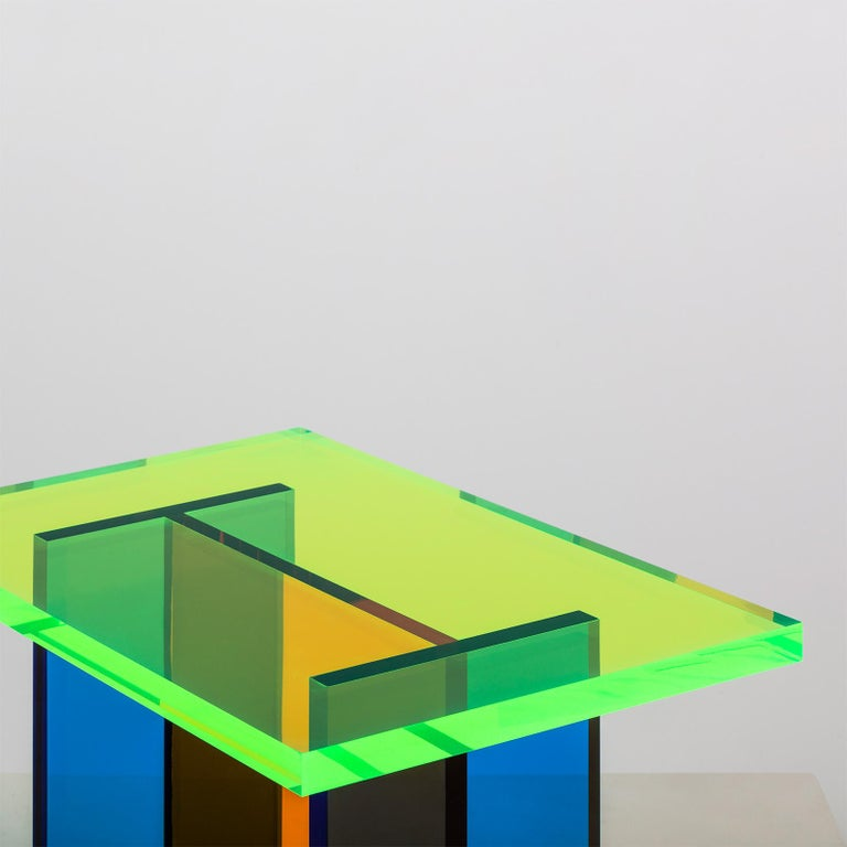 Korean Neon Table in Blue, Green and Orange Stacked Acrylic by Umzikim For Sale