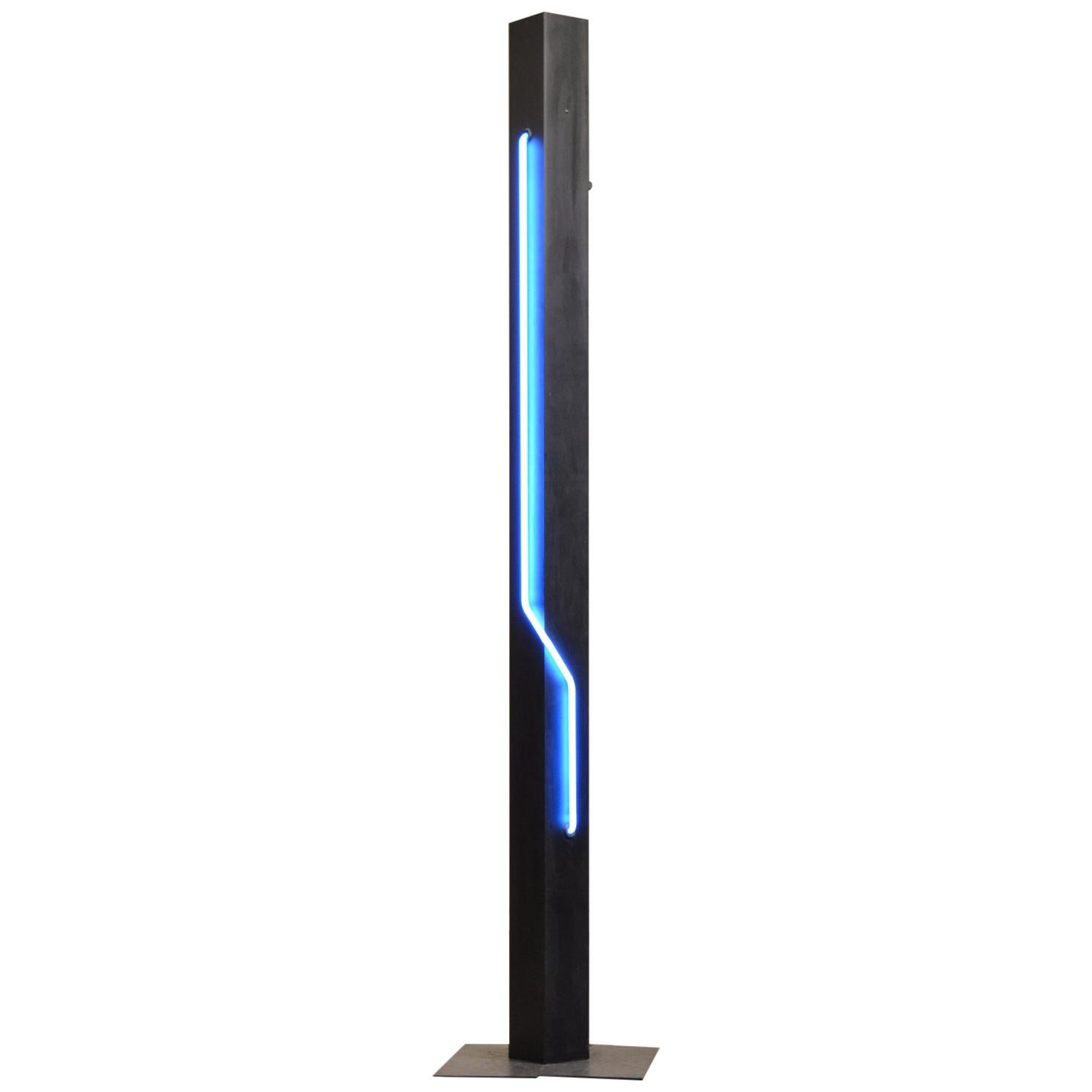 Post-Modern Blue Neon Torchiere Floor Lamp by Let There Be Neon for Kovacs