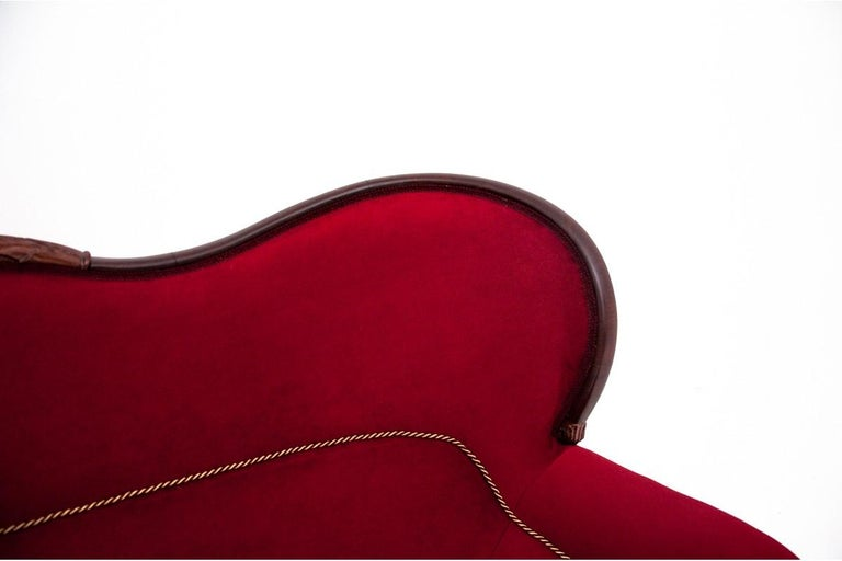Late 19th Century Neorokoko Red Antique Sofa from circa 1880, After Renovation For Sale