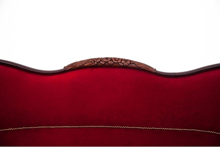 Velvet Neorokoko Red Antique Sofa from circa 1880, After Renovation For Sale