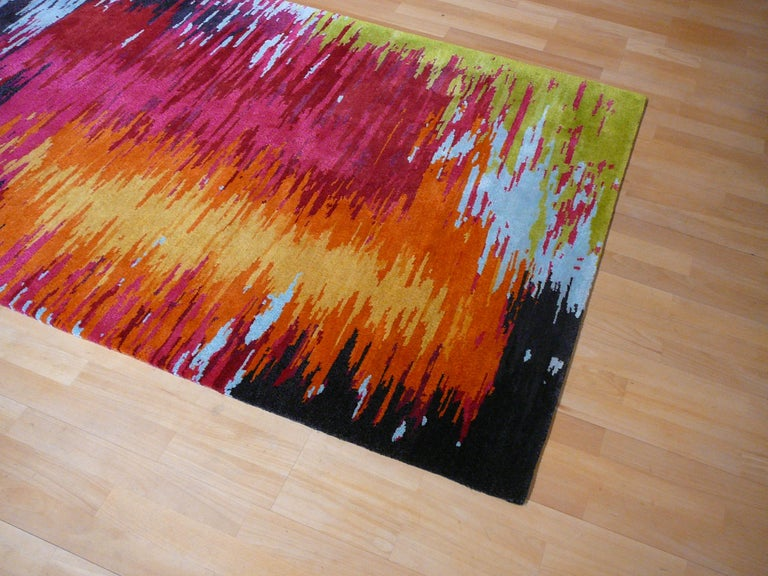 Contemporary very Fine hand-knotted Tibetan modernist rug, Very unusual design. Pile is made of handspun Tibetan highland wool and natural silk. Measures:  available for instand shipping in 6 x 4 ft.  We can produce this rug in sizes like 6 x 8 ft,