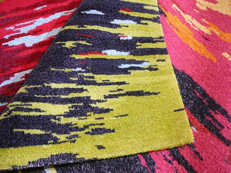 Hand-Knotted Nepal Tibet Modernist Rug Wool and Silk 21 Century Contemporary Design For Sale