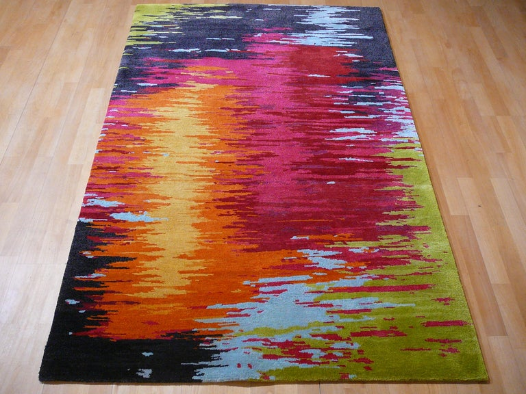 Nepal Tibet Modernist Rug Wool and Silk 21 Century Contemporary Design In New Condition For Sale In Lohr, Bavaria, DE
