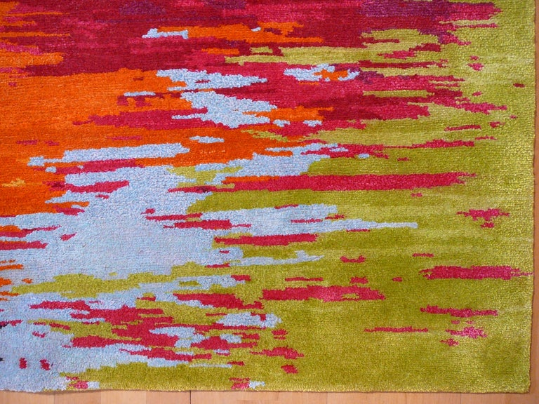 Nepal Tibet Modernist Rug Wool and Silk 21 Century Contemporary Design For Sale 1
