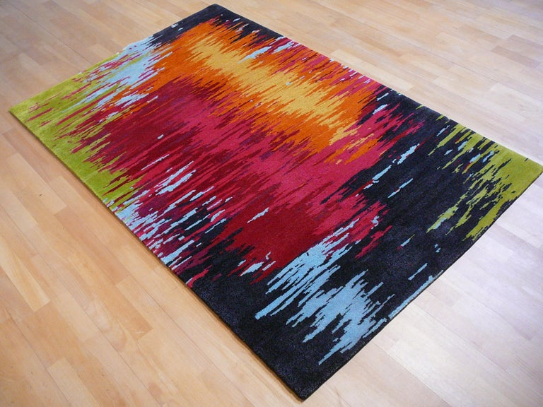 Nepal Tibet Modernist Rug Wool and Silk 21 Century Contemporary Design For Sale 2
