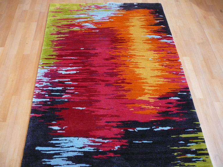 Nepal Tibet Modernist Rug Wool and Silk 21 Century Contemporary Design For Sale 3