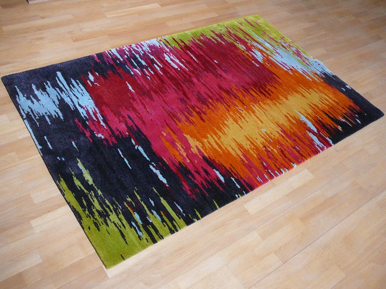 Nepal Tibet Modernist Rug Wool and Silk 21 Century Contemporary Design For Sale 4