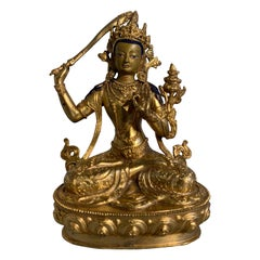 Nepalese Gilt Bronze Buddhist Figure of Manjushri, Early to Mid-20th Century