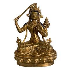 Nepalese Gilt Bronze Buddhist Figure of Manjushri, Early to Mid-20th Century