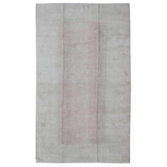 Nepalese Modern Rug in Pink and White