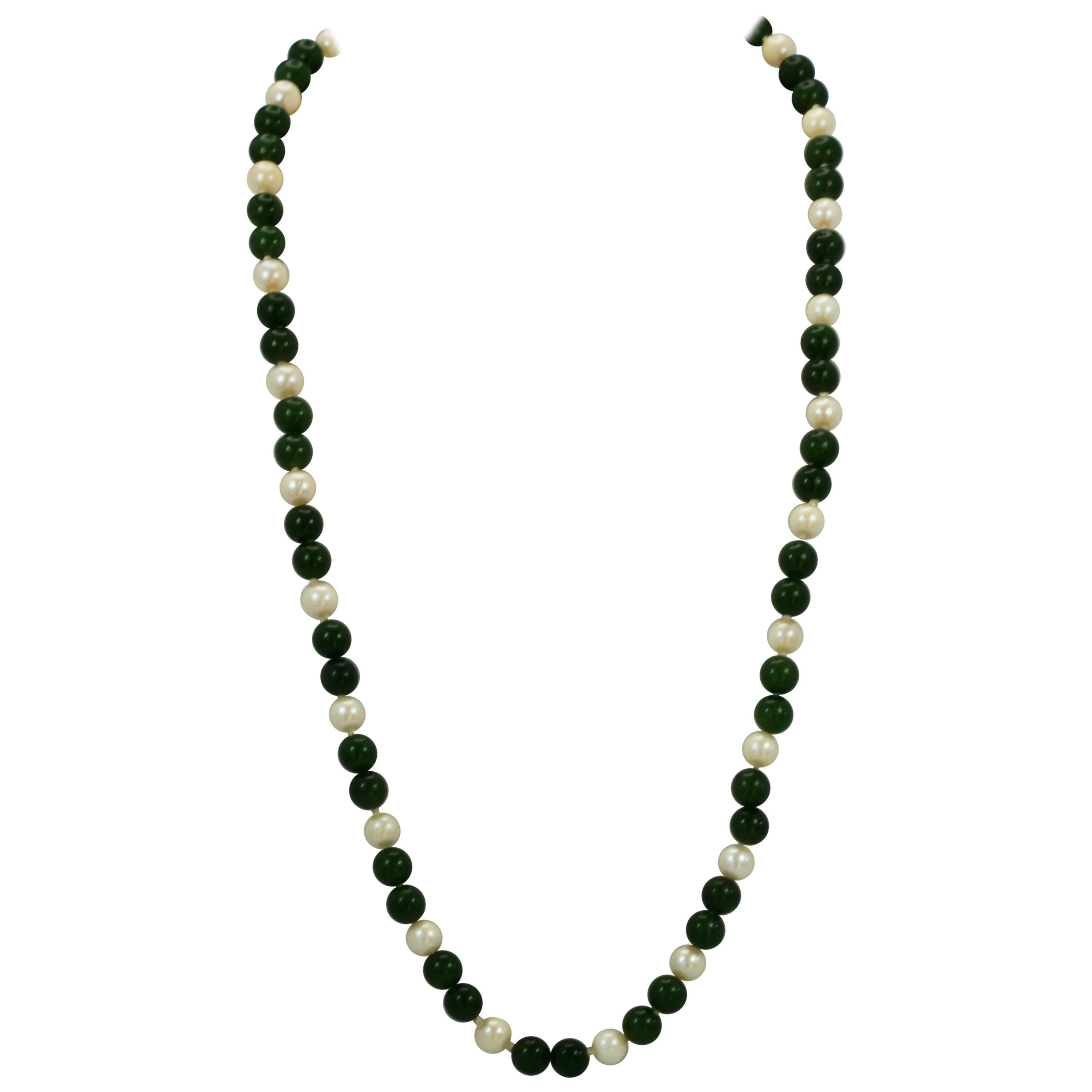 Nephrite Jade and Saltwater Pearl Necklace
