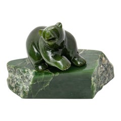 Nephrite Jade Bear Carved and Polished