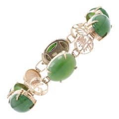 Nephrite Jade Link Bracelet, 14k Gold Chinese Characters Luck of Good Fortune
