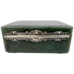 Rectangular Nephrite Jade Hinged Box with Sterling Mounts by Yamanaka