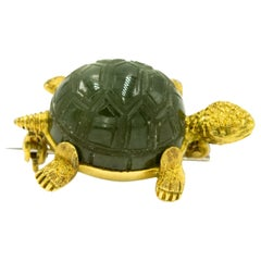 Nephrite Jade Textured Turtle Yellow Gold Brooch Pin