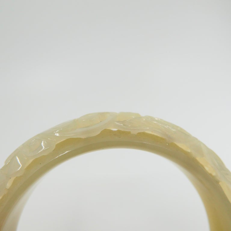 Nephrite White Jade Bangle, Hollowed Carving, Flower and Phoenix Motif For Sale 2
