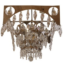 Nepir Portugal Art Deco Style Designer Chrome and Crystal Three-Tier Chandelier