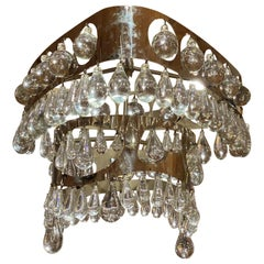 Nepir Portugal Art Deco Style Designer Chrome and Crystal Two-Tier Chandelier