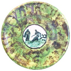 """Neptune Riding Sea Dragon,"" Striking Art Deco Plate by Ceramics Master Mayodon"