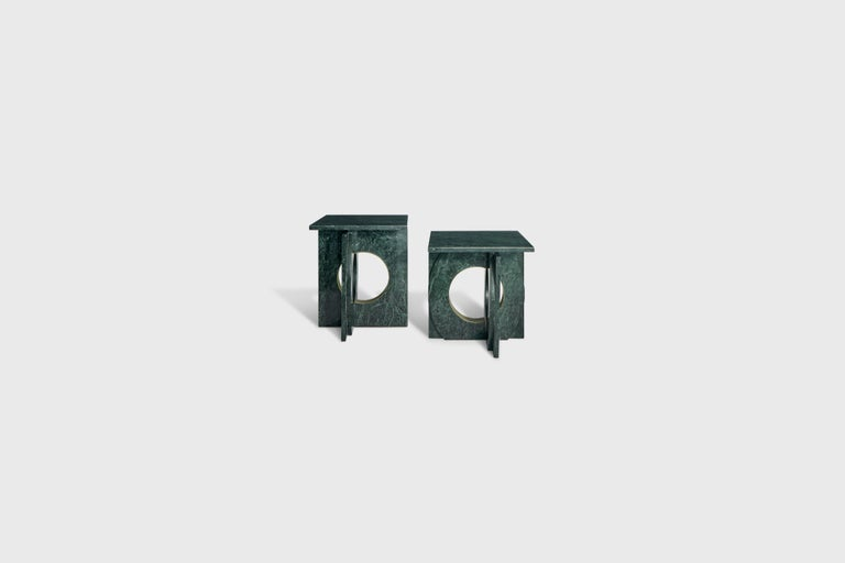 Modern Neptuno Side Table, Green Marble by ATRA For Sale